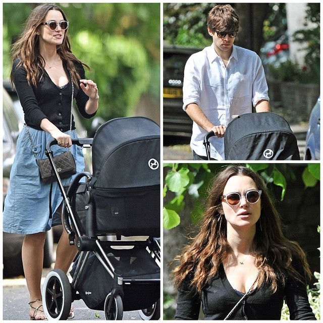 Keira Knightley and James Righton are seen on a walk with a stroller