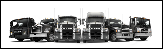 Lineup of Mack Trucks