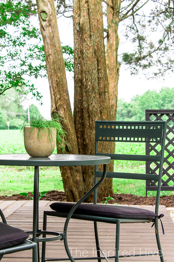 Hunter green outdoor bistro table