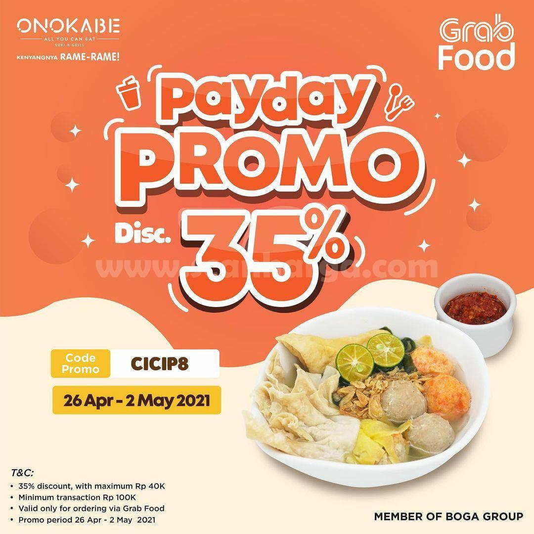 Promo ONOKABE PAYDAY! DISKON 35% via GRABFOOD