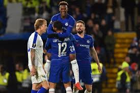 File photo: Hudson-odoi celebrating with Loftus-cheek after he scored Chelsea third goal against Dinamo Kiev in the last 16 first leg at the bridge.