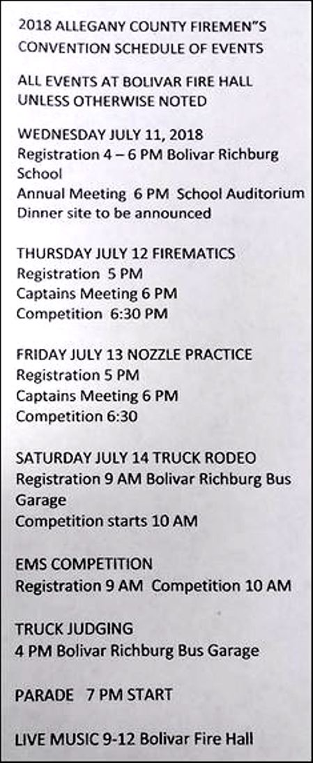7-13/14 Allegany County Firefighter's Convention