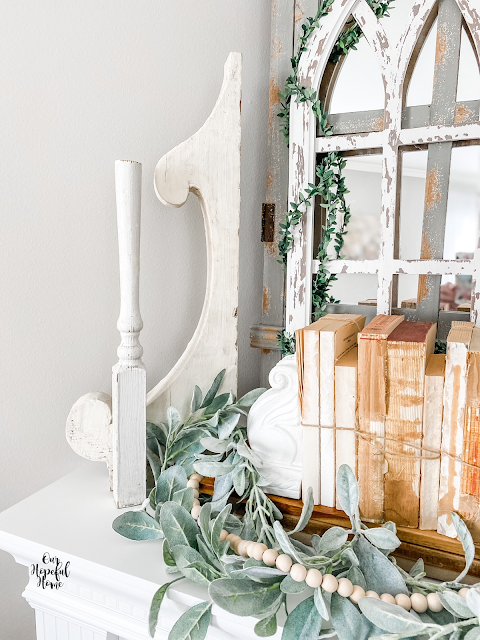 corbels balusters books lambs ear garland