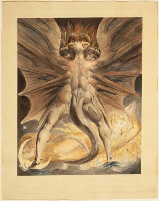Painting of a weird red dragon man standing over a yellow glowing woman