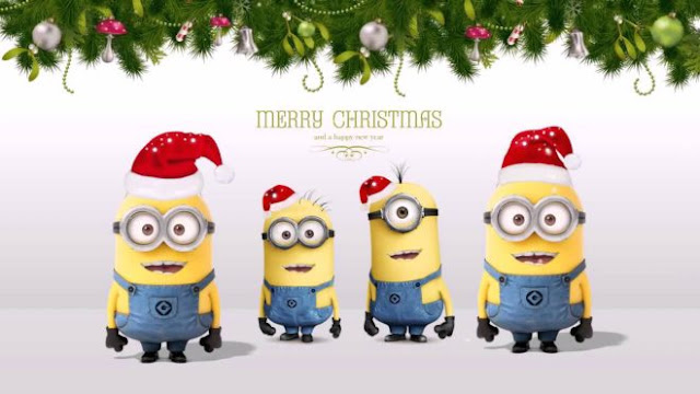 Funny Cute Minions Merry Christmas Xmas Desktop Wallpapers