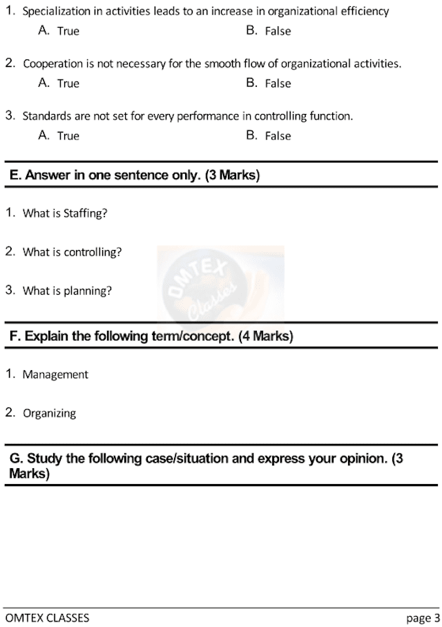 OCM Test No. 2. Class: 12th Standard Maharashtra Chapter 2: Functions of Management