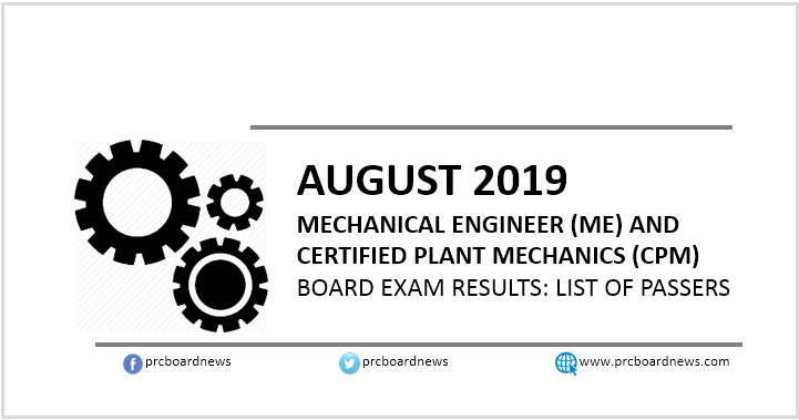 RESULT: August 2019 Mechanical Engineer ME, CPM board exam list of passers