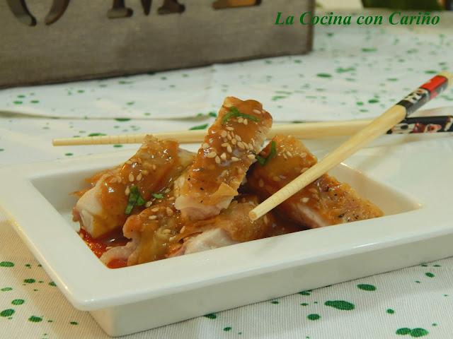 Pollo Plancha Con Soja, Sésamo Y Salsa De Tomate Agridulce