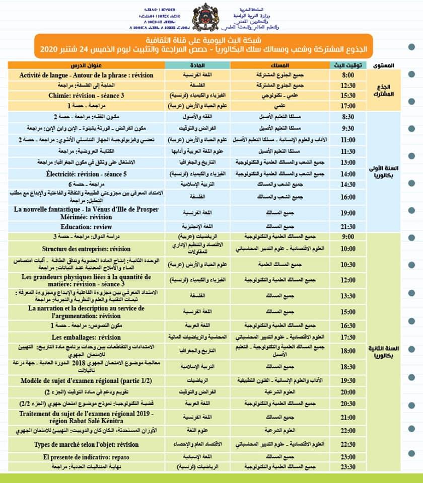 حصص المراجعة والتثبيت ليوم الخميس 24 شتنبر 2020 على قنوات الثقافية والعيون و الأمازيغية