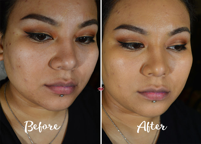 A picture of Stay Matte but not flat application in Warm beige by Nyx before and after