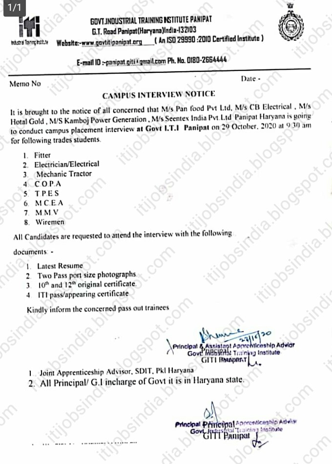 Govt I.T.I Panipat, Haryana Conduct Campus Placement Interview on 29th October, 2020 at 9.30 am
