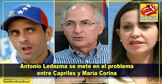 Antonio Ledezma se mete en el problema entre Capriles y María Corina