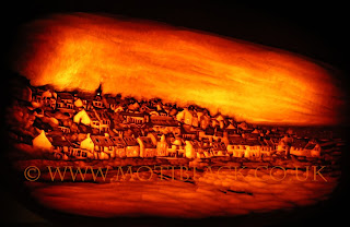 Pittenweem West Shore carved onto a pumpkin