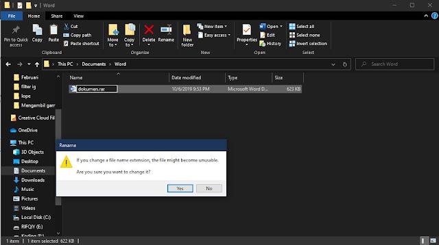 merubah file dokumen menjadi rar