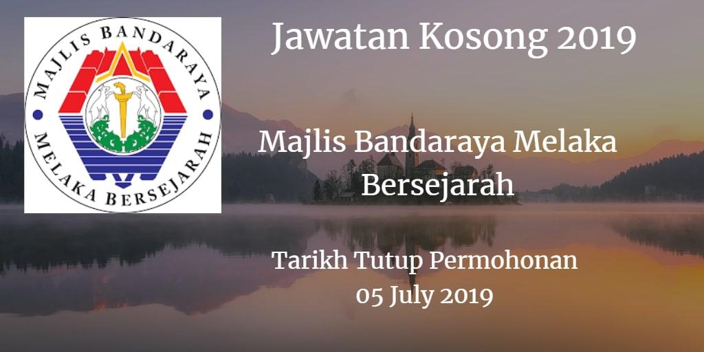 Jawatan Kosong MBMB 05 July 2019