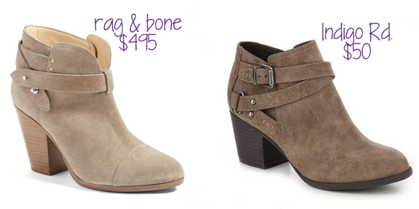 The western-inspired bootie with a stacked heel is popular this fall. Indigo Rd has a $50 alternative to the $495 rag & bone  version!