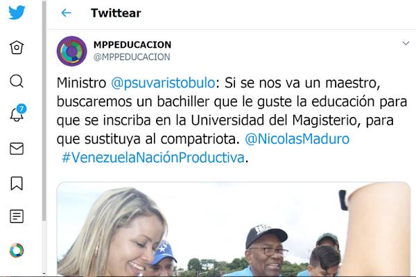 Ministro  @psuvaristobulo : Si se nos va un maestro, buscaremos un bachiller que le guste la educación para que se inscriba en la Universidad del Magisterio, para que sustituya al compatriota.