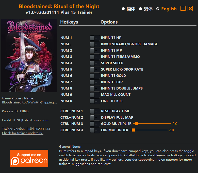 Bloodstained: Ritual of the Night: Trainer (+15) [1.0 - UPD: 15.11.2020]