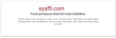 7. Pusat peninjauan iklan Google Adsense telah diaktifkan
