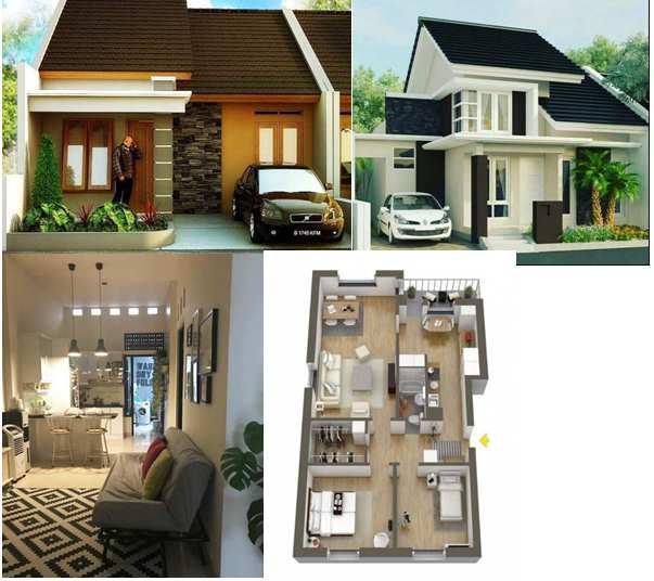 Rumah minimalis tampak depan dengan batu alam motif terbaik