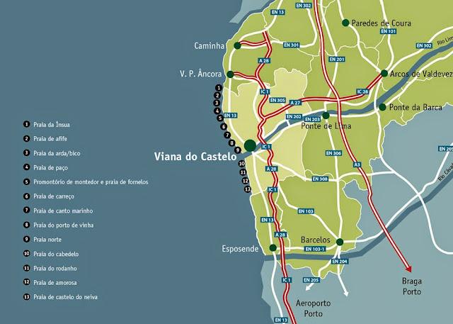Mapa das praias de Viana do Castelo