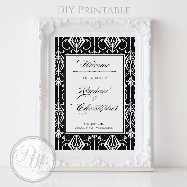 black white art deco wedding welcome sign by rbhdesignerconcepts