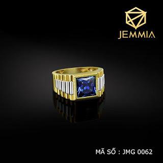 Nhẫn đồng hồ vàng nam mặt đá xanh