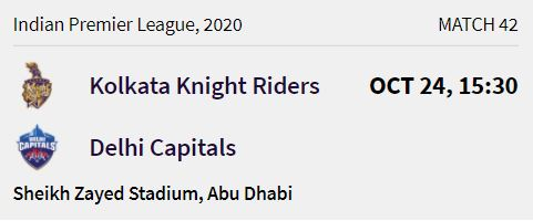 Kolkata Knight Riders match 11 ipl 2020