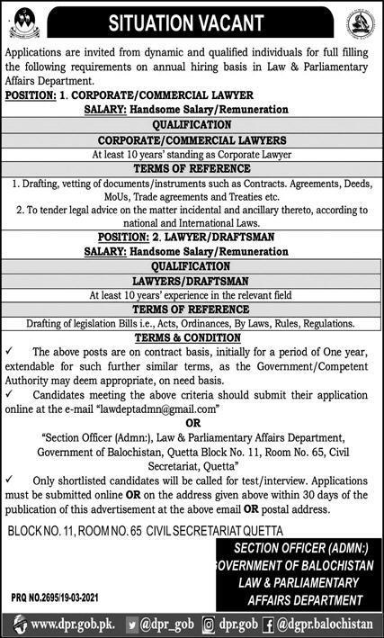 Law & Parliamentary Affairs Department Balochistan Jobs 2021