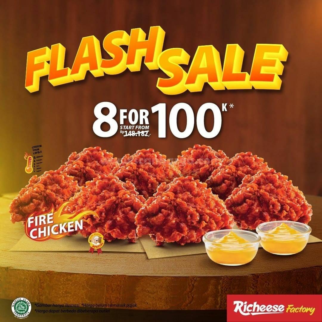 RICHEESE FACTORY Promo FLASH SALE! Harga Spesial 8pcs Fire Chicken cuma 100Rb