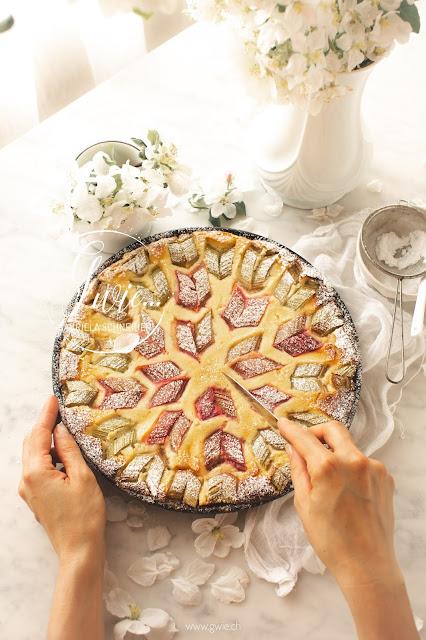 rhabarberkuchen, rhabarber, rautenmuster