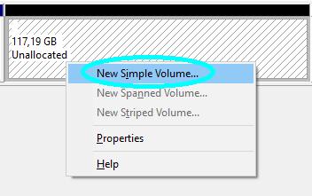 masuk ke konfigurasi volume