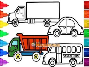 Pilihan Gambar Mewarnai Kendaraan Darat yang Mudah untuk Anak Tiru