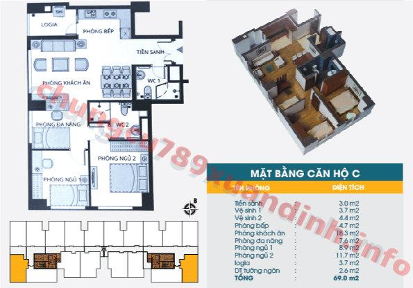 Thiết kế căn hộ 69m2 Chung cư 789 Xuân Đỉnh