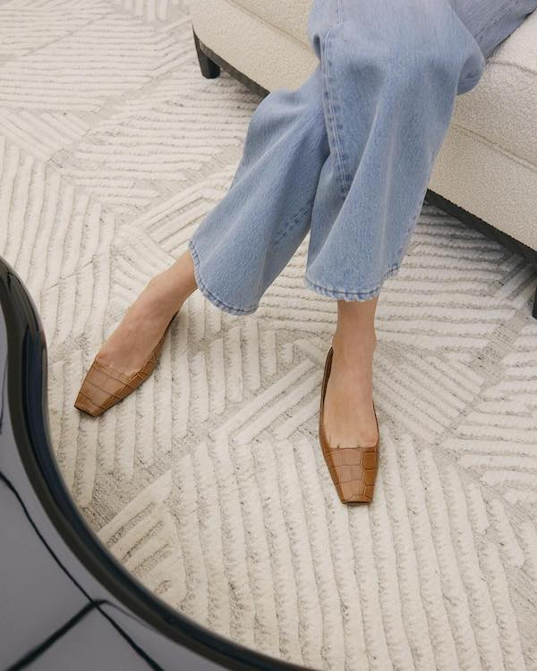 Timeless Spring Outfit — Toteme look with a cropped kick flare jeans and camel croc slip-on flats