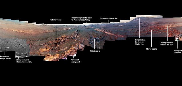 This 360-degree panorama is composed of 354 images taken by the Opportunity rover's Panoramic Camera (Pancam) from May 13 through June 10, 2018, or sols (Martian days) 5,084 through 5,111. This is the last panorama Opportunity acquired before the solar-powered rover succumbed to a global Martian dust storm on the same June 10. The view is presented in false color to make some differences between materials easier to see. Image credit: NASA/JPL-Caltech/Cornell/ASU
