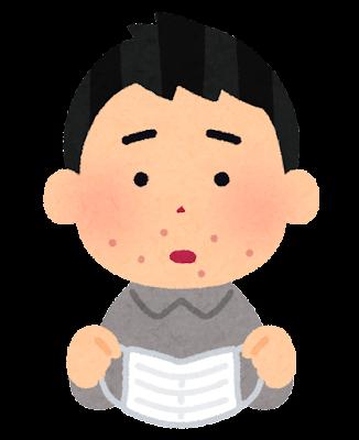 マスクによる肌荒れのイラスト(男性)