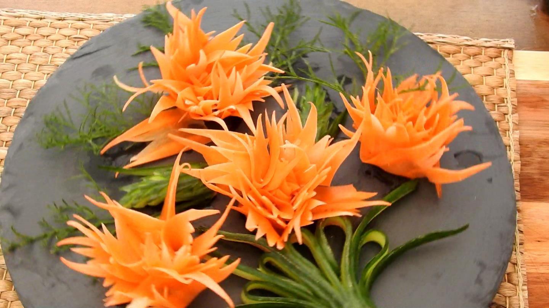 Букет, карвинг цветы из моркови