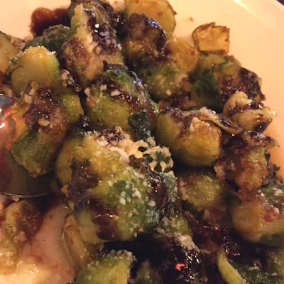 Roasted Brussels Sprouts with a balsamic glaze.