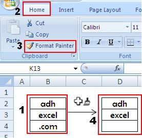 fungsi dan cara menggunakan menu formmat painter dalam excel