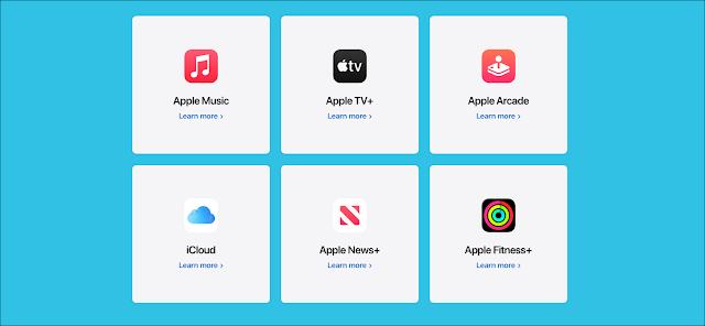 حزمة Apple One ، بما في ذلك Apple Music و Apple TV + و Apple Arcade و iCloud و Apple News + و Apple Fitness +.