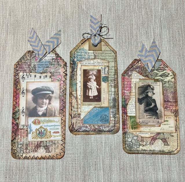 Vintage Days Junk Journal Tags From Book Pages & Paper Napkins