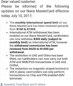 GTBank Naira MasterCard Limits Lifted for Foreign Transactions to $1000