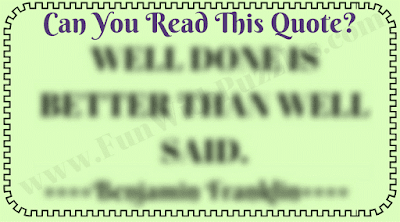 Eye test challenge to read blurred quote