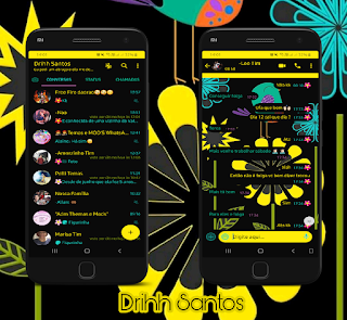 Flowers Black & Yellow Theme For YOWhatsApp & Fouad WhatsApp By Driih Santos