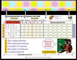 Descomposición de números decimales.
