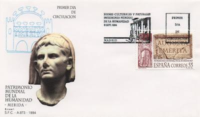 sobre, PDC, sello, Mérida, Patrimonio Mundial, Humanidad