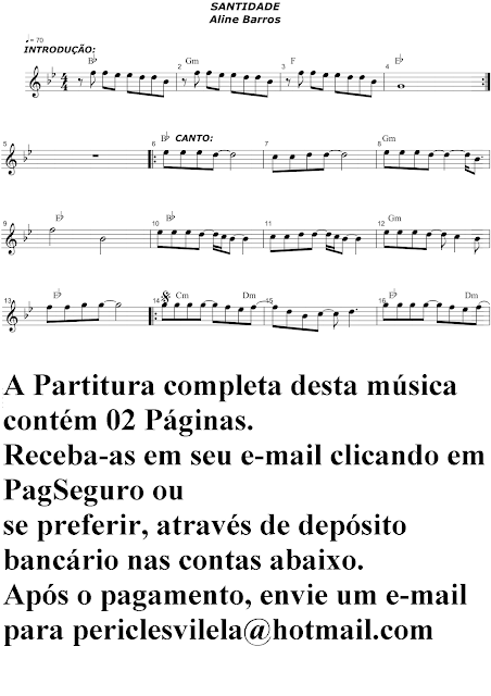 Partituras Musicais: Santidade - Aline Barros - Teclado