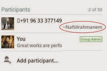 Find the contact name of unknown number using whatsapp