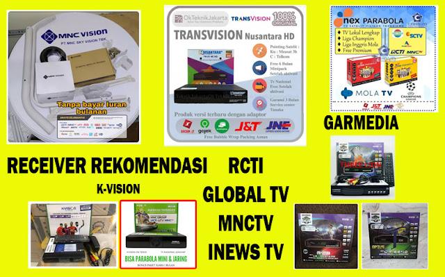 8 receiver Recomendasi RCTI Global TV MNCTV K-Vision Garmedia MNC Vision Nex Parabola Nusantara HD